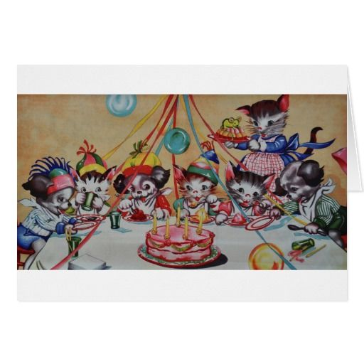 Image result for happy birthday card with antique cats