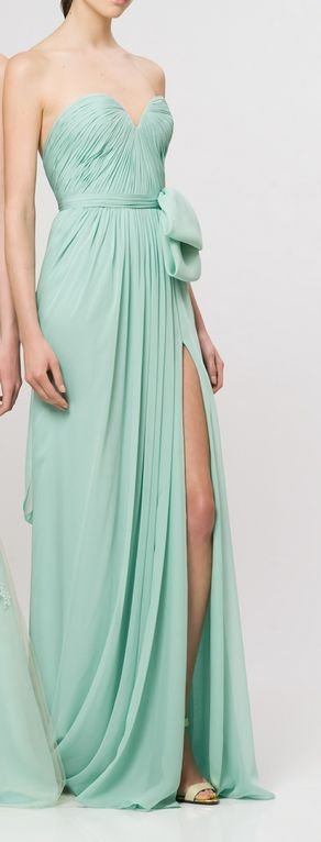 Mint bridesmaid dress, sweetheart neckline, long, slit, bow, reem acra