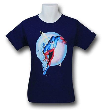 The Atom Justice T-Shirt is a navy blue t-shirt featuring an image of the Atom, taken from the hit Justice League series, Justice, and expertly painted by superstar artist, Alex Ross!