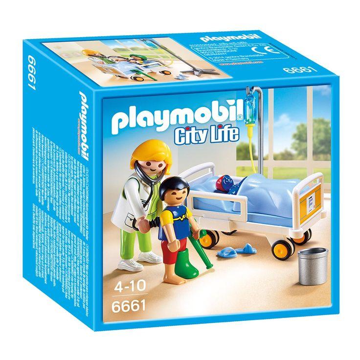 Verzorg je patiënten in deze ziekenhuiskamer met arts van Playmobil. Laat de bedrails naar beneden en leg de patiënt in bed. Rijd de patiënt naar de ziekenhuiskamer om de arts naar de verwondingen te laten kijken. Zorg voor een stevig gipsverband of leg een infuus aan. Nog even lekker bijkomen in bed met je knuffel en je bent in no-time weer beter! Afmeting: verpakking 14 x 14 x 7 cm - Playmobil 6661 Ziekenhuiskamer met Arts