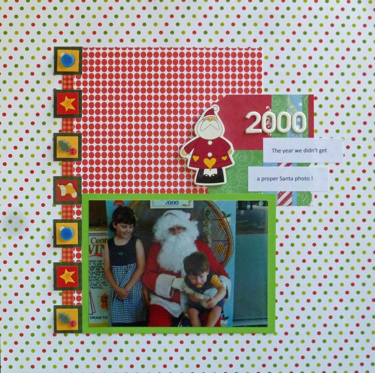 """A gorgeous bright Christmas layout submitted by Jane. Jane says """"I was not only inspired by the theme but also by the colours and scrapped a funny moment in my son's many years of Santa photos – the one year he took one look at the big guy in red and screamed his head off!!"""""""