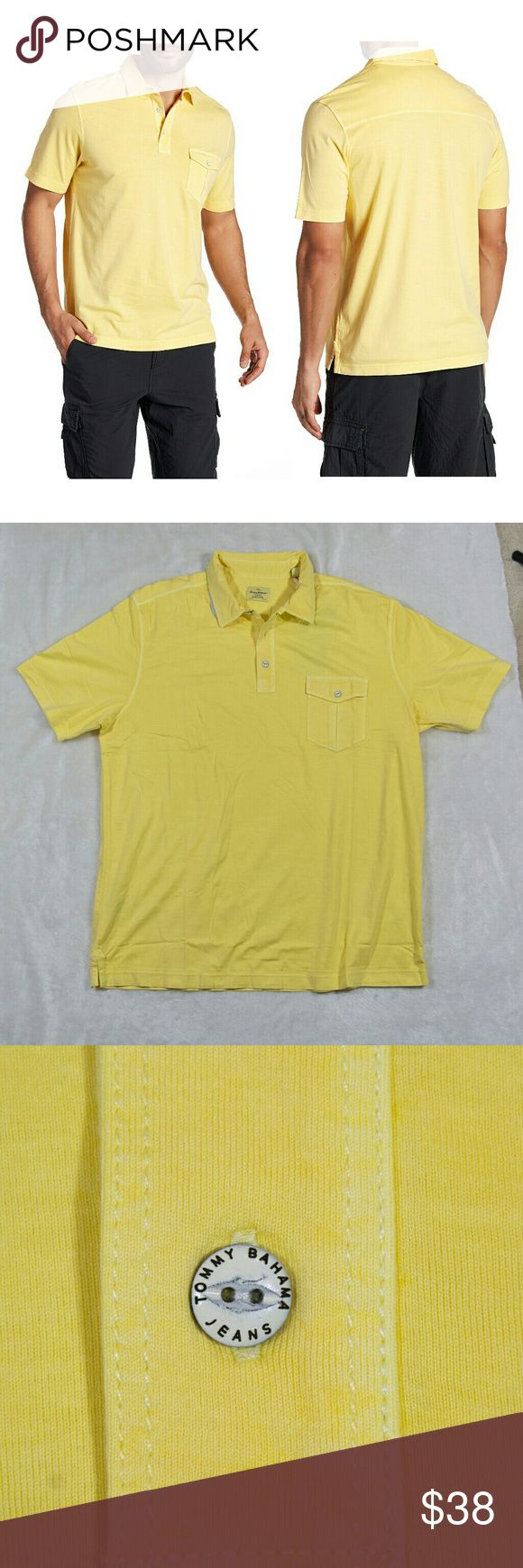 "NWT TOMMY BAHAMA yellow Polo shirt New with tag TOMMY BAHAMA sz XL Vacanza short sleeves polo MSRP $88  color: banana  - 60% cotton, 40% Tencel - Spread collar - Short sleeves - Partial front button closure - Chest pocket - Approx. 28"" length - Imported Tommy Bahama Shirts Polos"