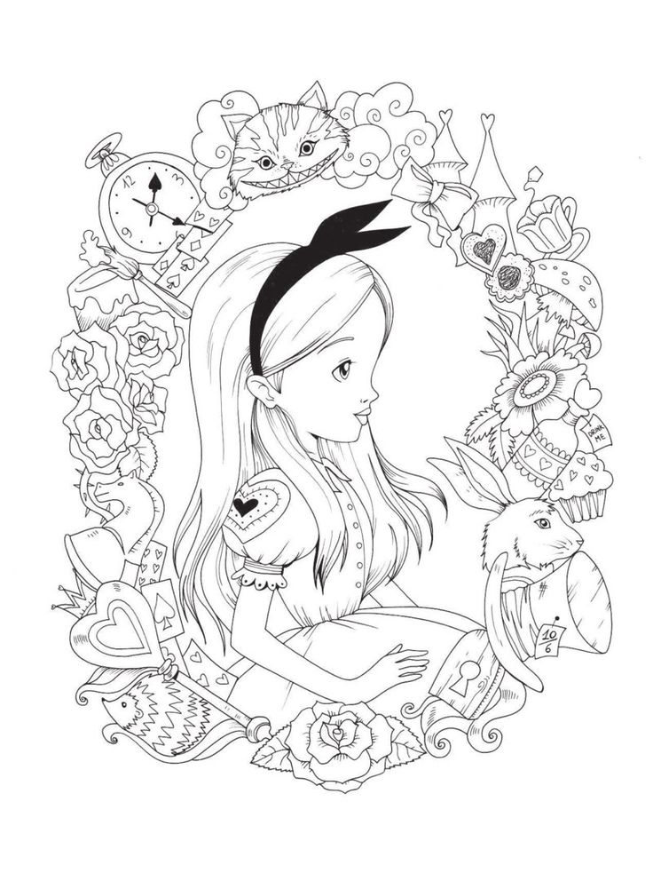 Alice In Wonderland Colouring Book with poster by Fabiana Attanasio