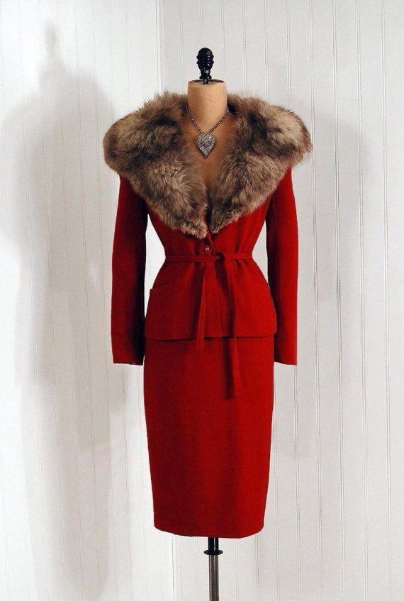 1950's Vintage Raspberry-Red Wool Hourglass Fox-Fur Designer-Couture Belted Rockabilly Bombshell Femme-Fatale Low-Cut Plunge Winter Pencil-Wiggle Holiday Wedding Cocktail Party Dress Suit NEVER WORN