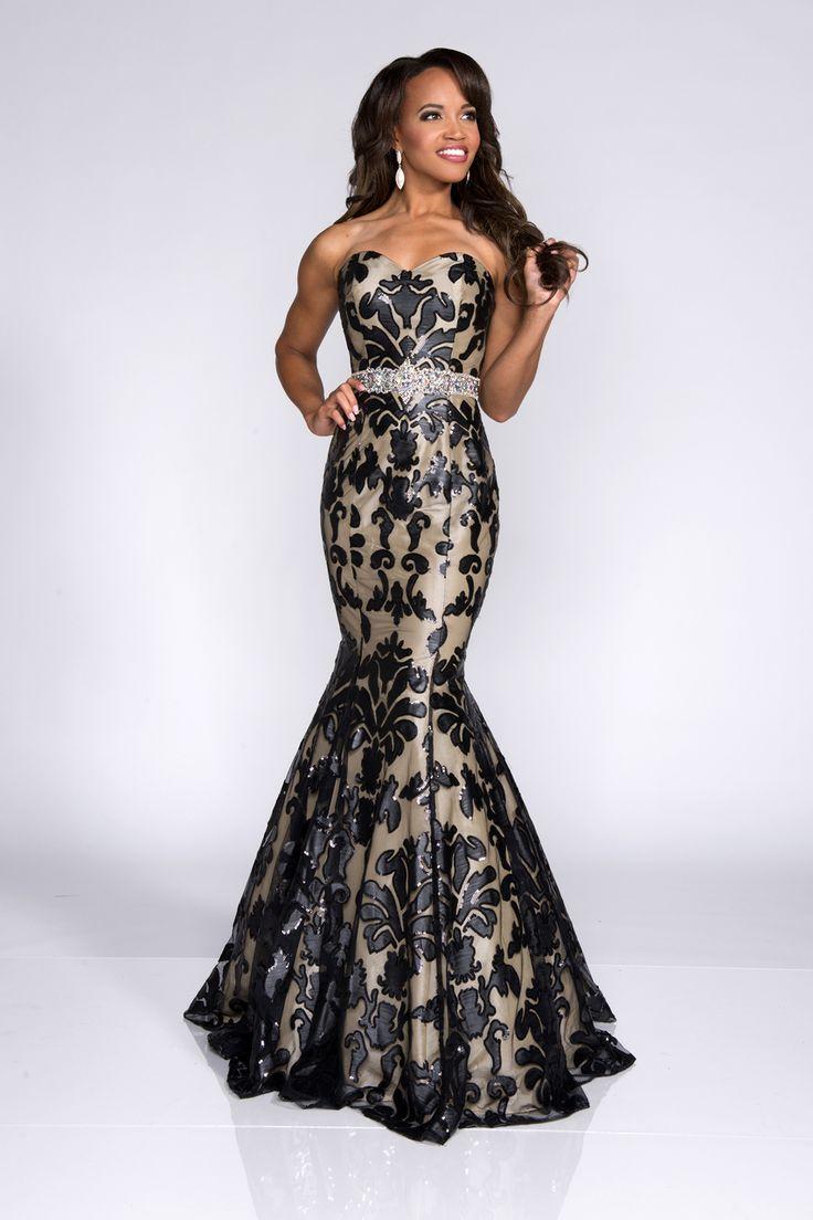 Black and white damask bridesmaid dresses