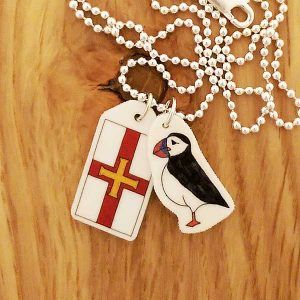 Puffin and guernsey flag necklace