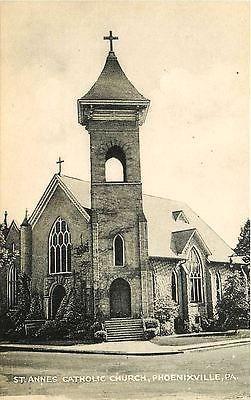 Phoenixville Pennsylvania PA 1930s St Anne's Catholic Church Vintage Postcard