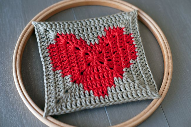 Granny Square Heart, free pattern by Lucia Lanukas.  Very easy pattern, colors are carried for two rows.   . . . .   ღTrish W ~ http://www.pinterest.com/trishw/  . . . .   #crochet