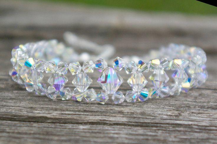 Swarovski AB Bracelet Clear Crystal Bracelet Bridal Crystal Bracelet Swarovski Jewelry Statement Bracelet Bridesmaid Bracelet by AuroraCrystalPassion on Etsy