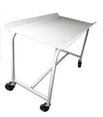 PORTABLE FOLDING TABLE  - For transferring from washer to dryer  - Easy storage under fixed bench  - Optimal health and safety height  - Large polyurethane wheels   - Large PVC top   - Raised edges for load stability  - 850(h) x 640(w) x 1170(l)