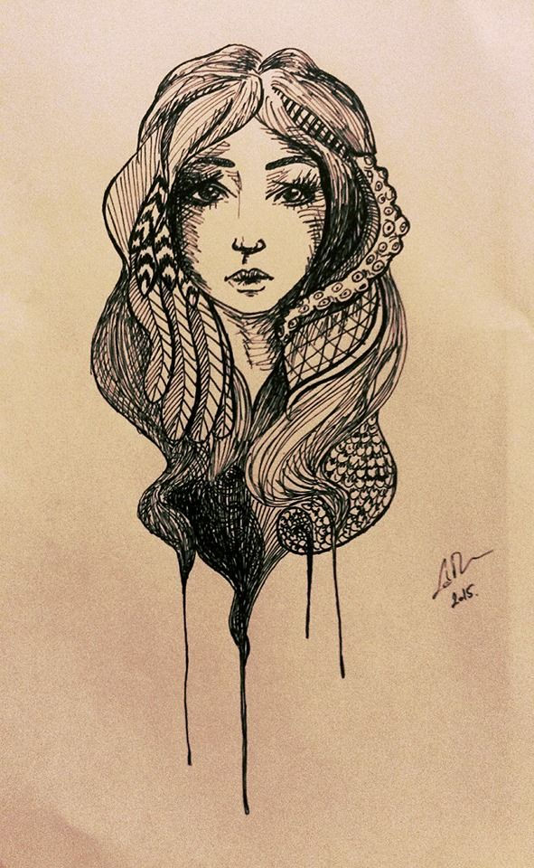 Black and white girl marker sketch by Flora Laszlo, 2015