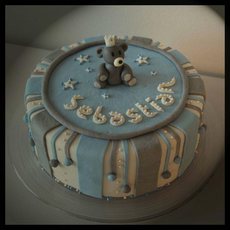 Baptism cake teddy boy