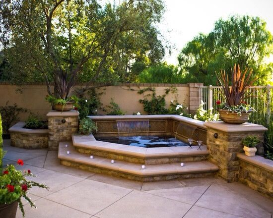 Hot tub or small pool idea above ground with built in for Hot tub designs and layouts