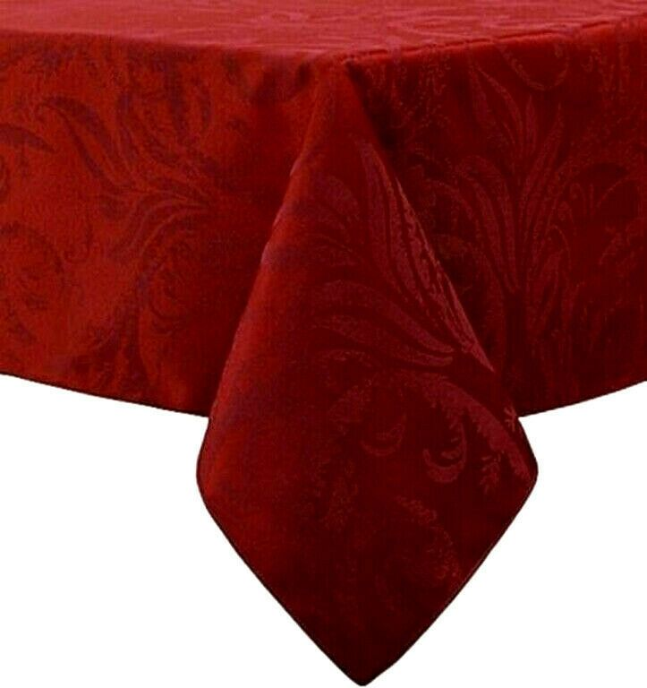 Fabric Damask 90 Rd Tablecloth Wine Color Includes 4 Matching