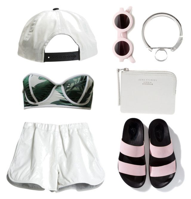 """""""Untitled #365"""" by feeblyy ❤ liked on Polyvore featuring Zara, Beach Riot, H&M, Brixton, The Webster, Cynthia Rowley, sandals, HM, zara and acnestudios"""