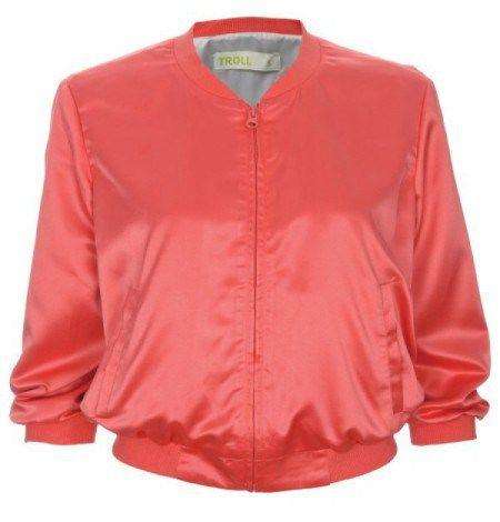 Ροζ σατέν bomber jacket