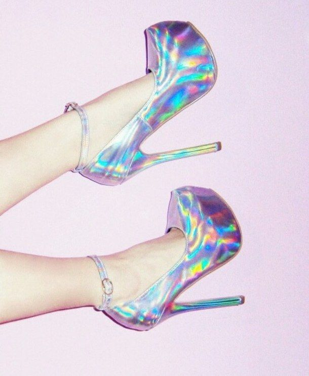 cute, girly, heels, holographic, pink