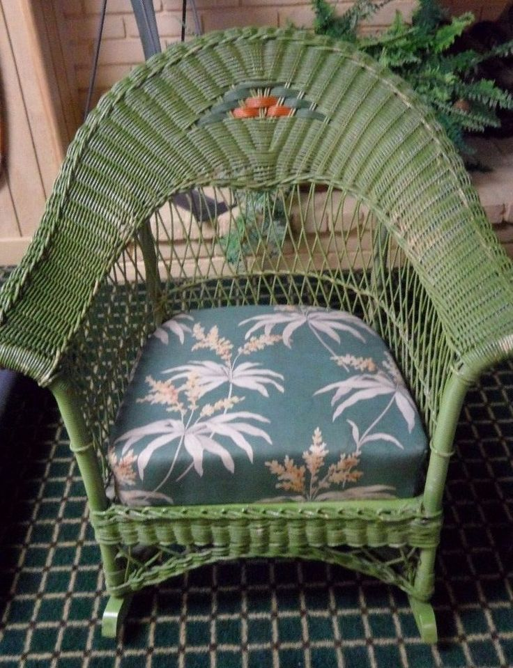 ANTIQUE ARTS & CRAFTS WICKER ROCKING CHAIR ART DECO VINTAGE ADULT #Wicker