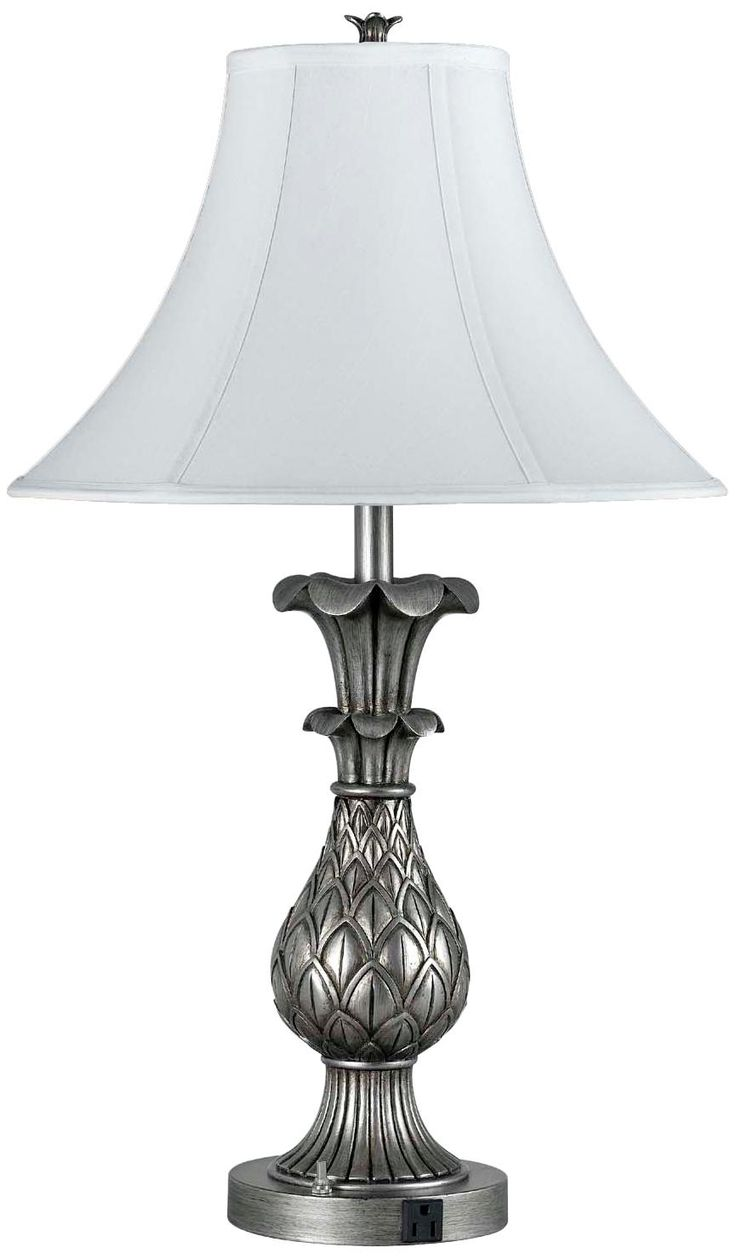 pineapple base antique silver two light table lamp. Black Bedroom Furniture Sets. Home Design Ideas