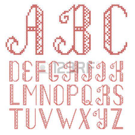 cross+stitch%3A+kruissteek+alfabet+op+een+witte+achtergrond.+De+letters+zijn+geborduurd+met+rode+draad.