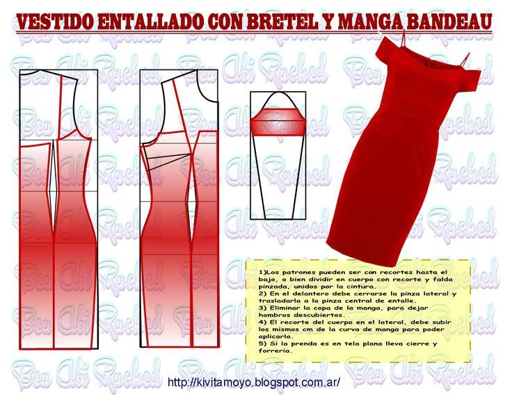 Off shoulder dress pattern  KiVita MoYo: VESTIDO ENTALLADO CON BRETEL Y MANGA BANDEAU