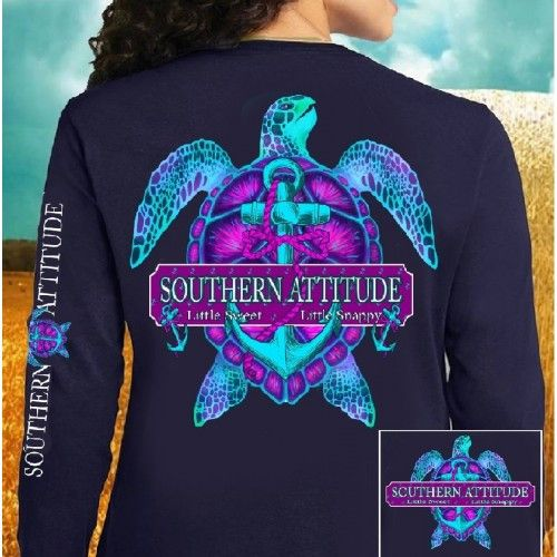 Country Life Outfitters Southern Attitude Snappy Turtle Anchor Bow Navy Vintage Girlie Bright Long Sleeve T Shirt Available in sizes Adult S-3X Picture is of th