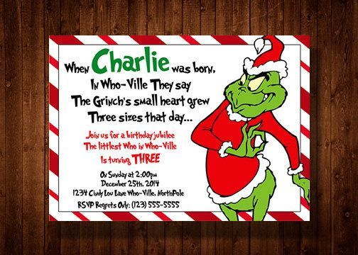 Dr. Seuss's The Grinch Birthday party invitation