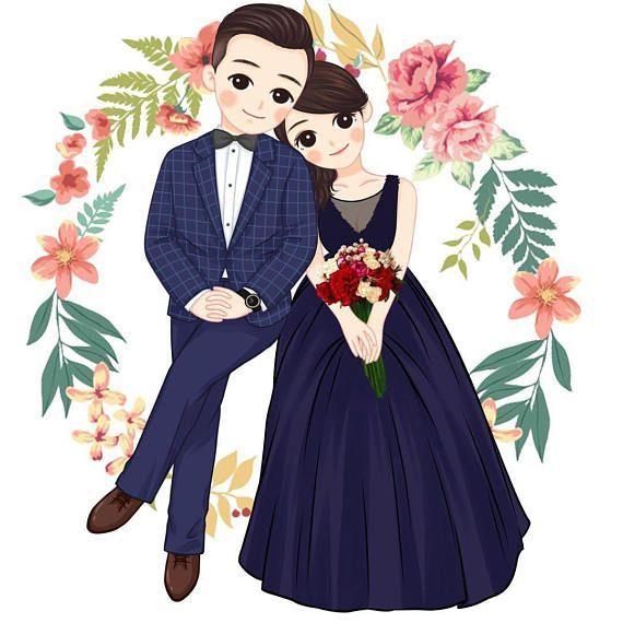 Custom Wedding Portrait Couples Portrait Cartoon Portrait Weddinginvitation Portrait Cartoon Wedding Couple Cartoon Wedding Caricature