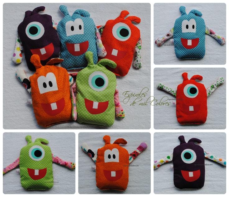 """""""MONSTER-SACO"""" TERAPÉUTICOS INFANTILES de http://espiralesdemilcolores.blogspot.com.es/2013/05/sacos-termicos-terapeuticos-antocolicos-infantiles-monster.html"""
