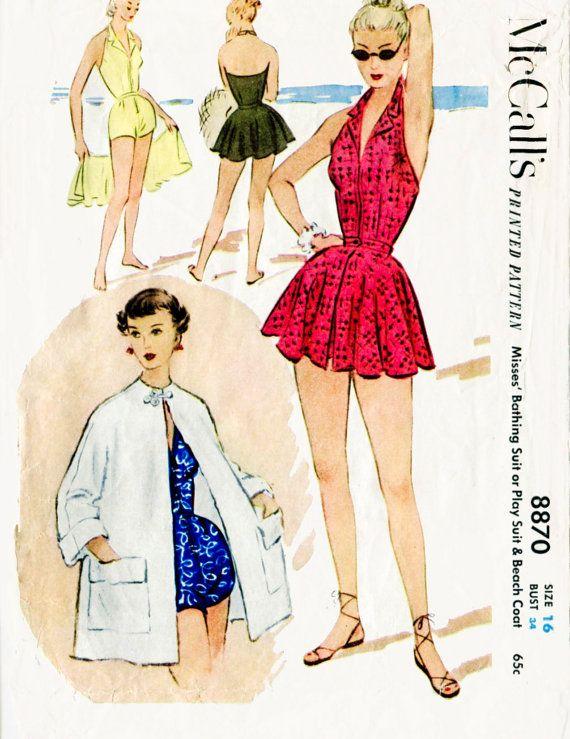 1950er Jahre 50er Jahre Vintage Badeanzug Nähen Muster ein Stück Halfter…
