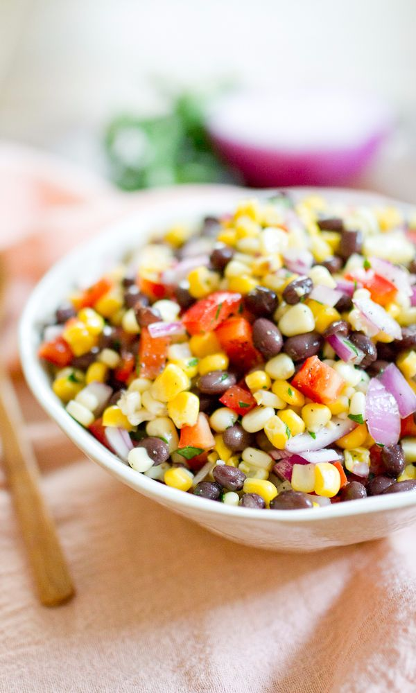 This black bean succotash recipe from is the perfect vegetarian-friendly Summer side!