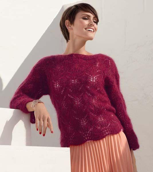 Схема и описание вязания на спицах ажурного пуловера из мохера из журнала Verena 2/2015
