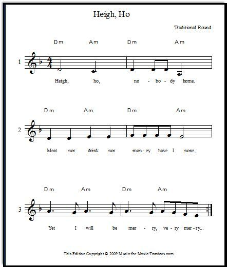 Heigh Ho Vocal Round For Beginning Singers
