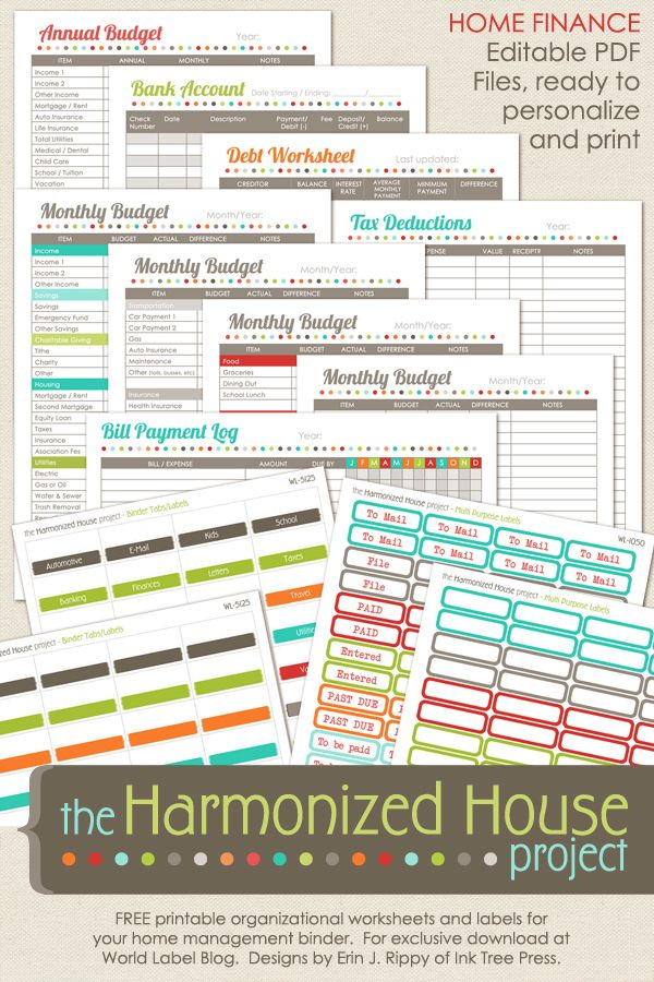 FREE Home Finanace Worksheet Printables part of the Harmonized House Project includes multipurpose labels, binder labels and tags, annual budget, debt worksheet, monthly budgets, bank accounts, tax deductions and more …. and the best part is, it is for FREE… Enjoy!