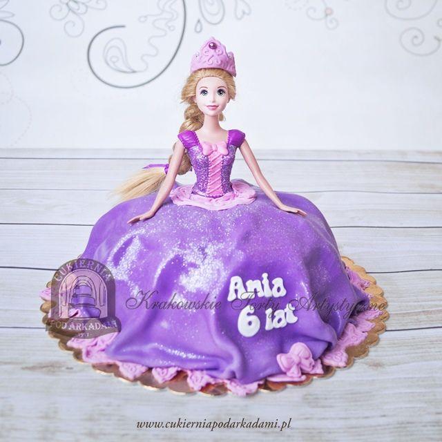 136BD Tort z lalką Roszpunka z bajki Zaplątani.Rapunzel doll cake.