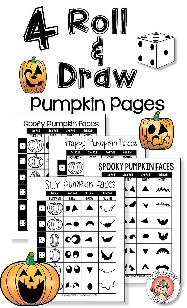 4 Roll & Draw Jack-O-Lantern Pages ... keep students drawing on Halloween!