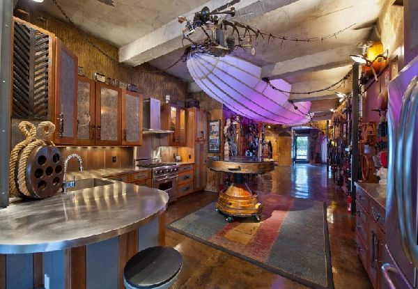 Kitchen Furniture Design at Submarine Style Apartment - Surreal Steampunk Apartment in New York City