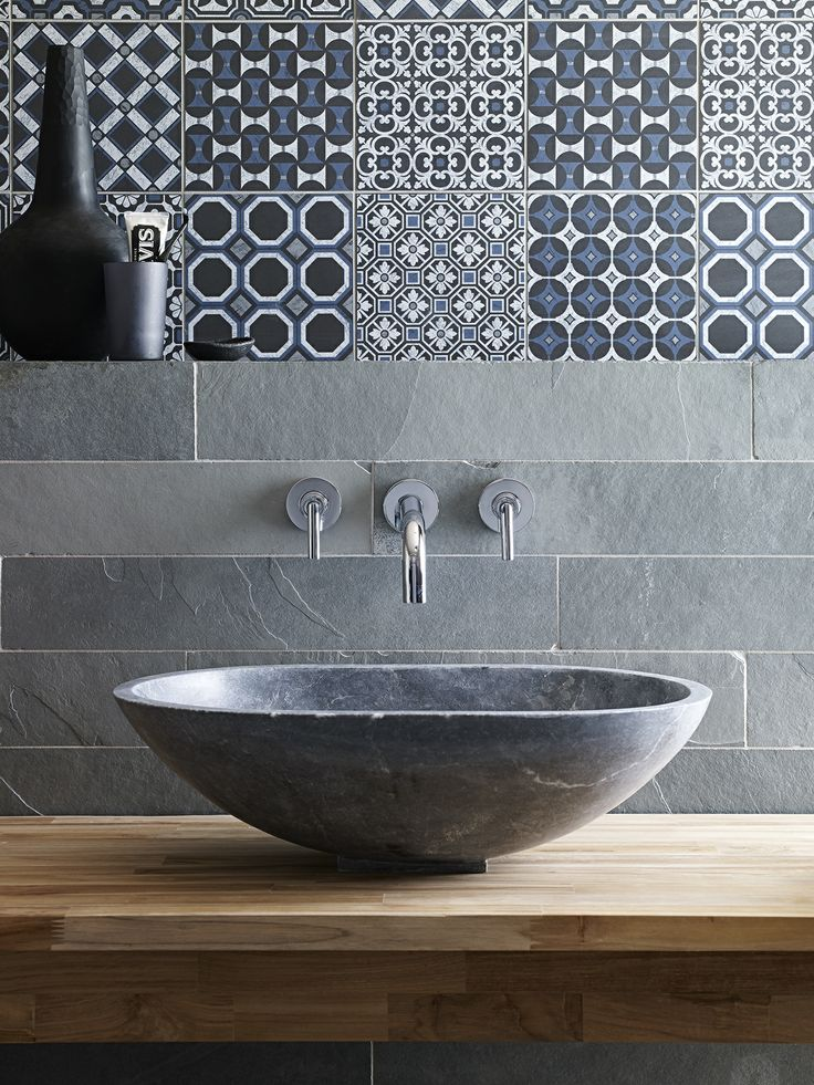 Gris Riven Slate & Baroque Black Blue #DecorativeandGlazed with Bluestone Venus Jupiter Basin. Based on ancient Mediterranean artistic designs and with an unrivalled intensity and clarity of pattern, our Baroque range is truly striking. Colour options range from the more subdued to the bold and the combination of shades within each pattern is exceptional. #bathroom #decorative #slate #stone #stone basin