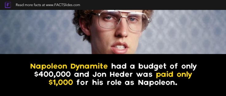 Napoleon Dynamite had a budget of only $400,000 and Jon Heder was paid only $1,000 for his role as Napoleon.