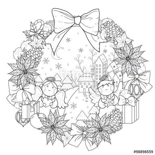 """Laden Sie den lizenzfreien Vektor """"Christmas wreath coloring page"""" von JoyImage zum günstigen Preis auf Fotolia.com herunter. Stöbern Sie in unserer Bilddatenbank und finden Sie schnell das perfekte Stockbild für Ihr Marketing-Projekt!"""