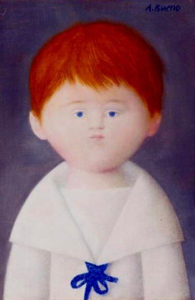 Artinvest2000: Antonio Bueno Pel di carota 1980 olio su faesite cm 30x20 Collezione Isabella Bueno,Firenze.
