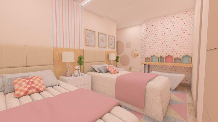 #projetosHAUS Que tal um dormitório para irmãs que dividem o mesmo ambiente? Uma proposta com uma pincelada de rosa, tons beges, azul e branco. Adoramos o resultado!.    #Haus #architecture #design #decoração #interiordesign #interiores #instadecor #homedecor #designdeinteriores #arquitectura #archilovers #projeto #decoration #interior #instadesign #homedesign #instahome #architect #lifestyle #interiorstyling #interiordecor #interiors #mood