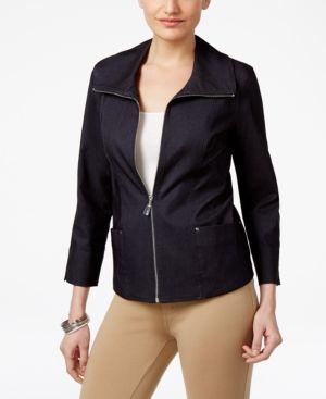 Jm Collection Petite Denim Zip-Up Blazer, Only at Macy's - Blue 12P