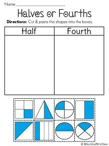 Half and Fourth cut and pastes -- common core math standard!  More free #math ideas here: https://www.teacherspayteachers.com/Store/Mathfilefoldergames/Price-Range/Free