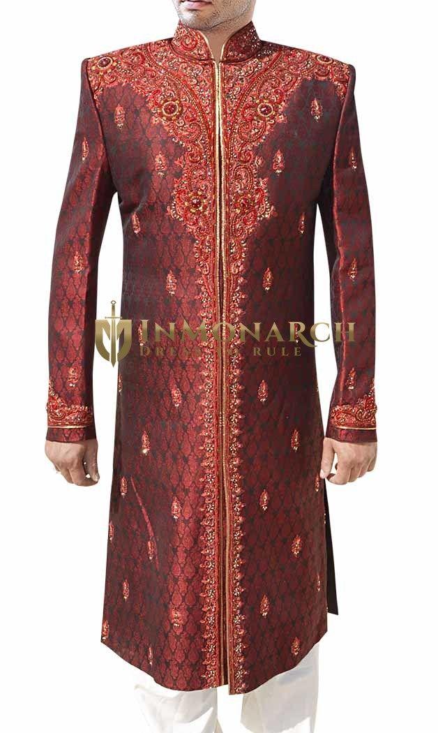 Fiery Maroon and Gold Designer Sherwani #Inmonarch #Sherwani #Wedding #Indian Wedding Wear #Inmonarch Wedding Wear #Celebration Wear #Special Occasion #Indian Ethnic Wear