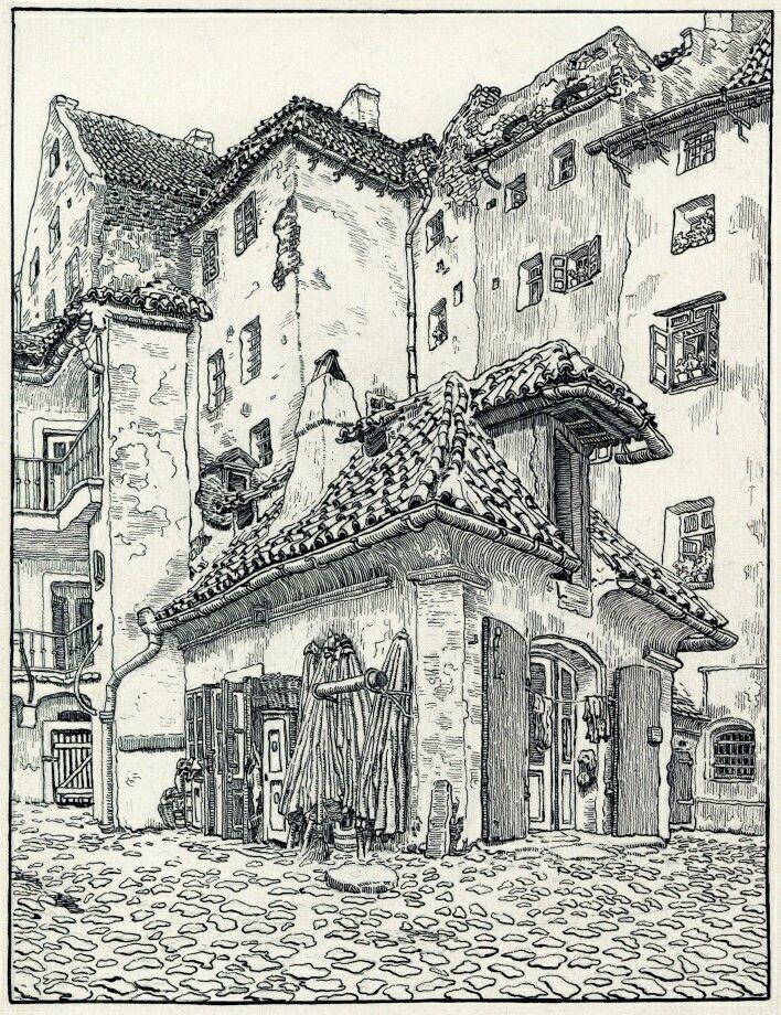 Dvůr u Ovocného trhu – Dvůr původně gotického domu U Kamenné mořské panny v Karlově ulici 14 již v tomto stavu neexistuje, na rozdíl od svého průčelí z roku ...