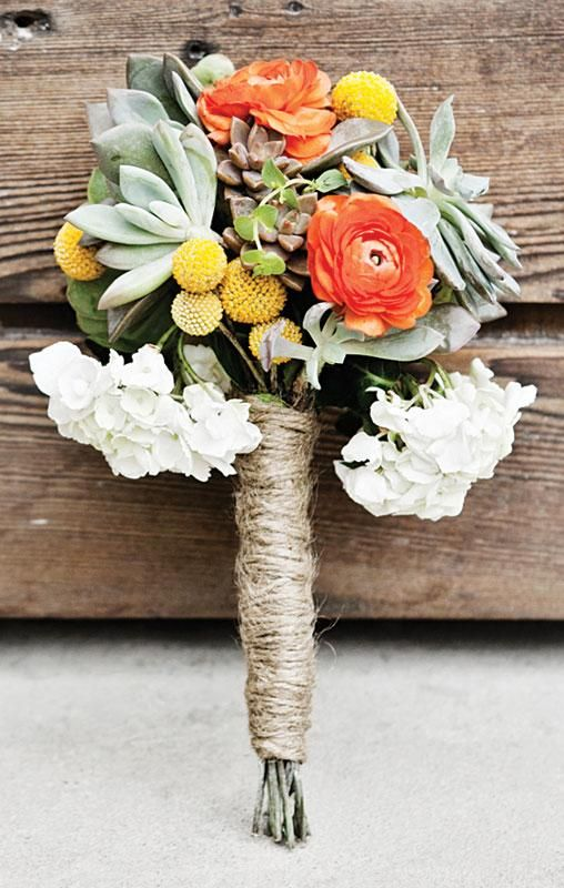 Rustic wedding bouquet with succulents and a twine wrap, photo by Jennifer Eileen