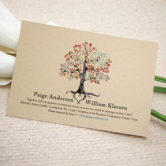 Printable Wedding Invitation - Rustic Woodland Tree