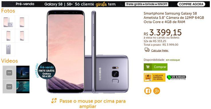 [Girafa] Samsung Galaxy S8 Ametista - R$: 3.399,15 a vista/boleto