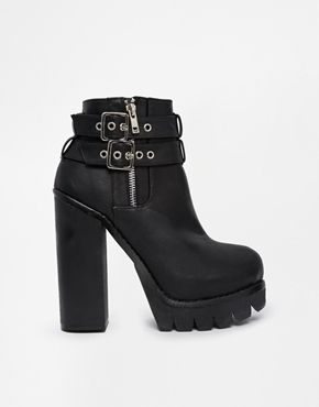 Image 1 of New Look Chrysler Chunky Platform Heeled Ankle Boots